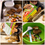 Nuggets de Frango com Palitos de Batata Doce e Cenoura Assada e Molho de iogurte e alho