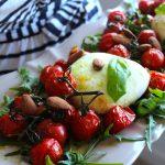 Salada de Tomate Assado, Mozarella e Azeite de Manjericão