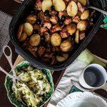 Tabuleiro de Carne de Porco com Batata Nova e Tomate Seco