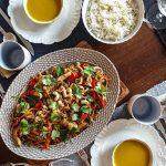 Frango no Wok com Legumes, Gengibre e Caju